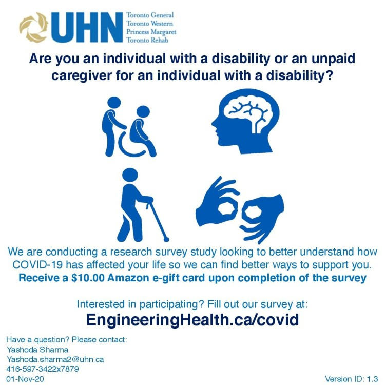 COVID-19 Survey for Individuals with Disabilities and Unpaid caregivers